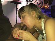 Choking on my bulls big black dick while my husband films