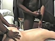 Cuckold wifey so exicted to have two blacks pleasure her