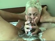 Insatiable fluid handjob by blonde wifey