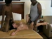 Bi-racial ultra-kinky wife and two blacks huge-chested milf three way intercourse
