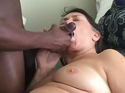 Cum crazy grandmother loves being fed hot tasty spunk from a black knob