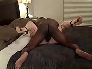 Cuck bareback big black cock action while husband works
