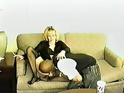 Married blonde white wifey wearing special lingerie for blacking