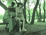 Martine gangbang in the park with four young dark-hued men