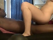 Horny towheaded inhales and rides her bbc amateur bi-racial